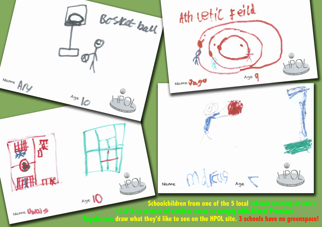 Children draw the sports facilities they'd like to see on the Victoria Road site